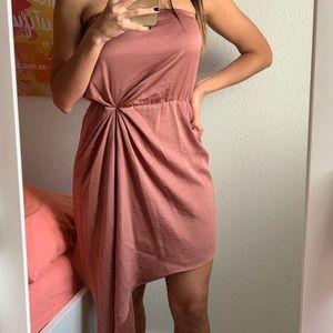 Express Silk Bronze Strapless Dress (WORE ONCE)